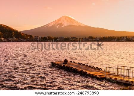 Mount Fuji and Lake Kawaguchi at sunset, Japan. - stock photo