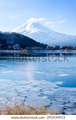 Mount Fuji at Iced kawaguchiko Lake in Winter, Japan