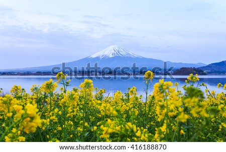 Mount fuji at Lake kawaguchiko in the morning.