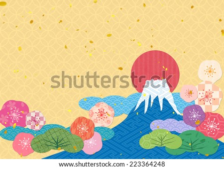 Mount Fuji collage by Japanese pattern  - stock photo