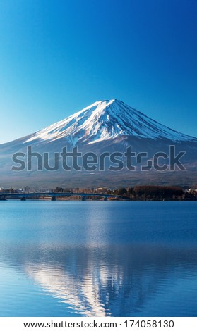 Mount Fuji from Lake Kawaguchiko - stock photo