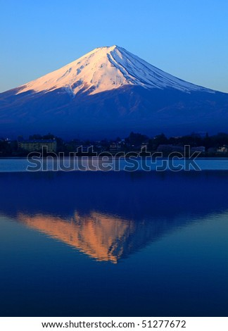 Mount Fuji, Lake Kawaguchi, Japan - stock photo