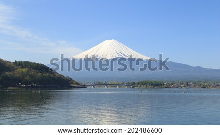Mount Fuji, view from Lake Kawaguchiko, Japan - stock photo
