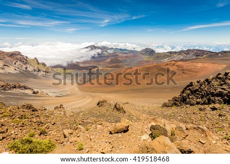 Mount Haleakala, On the Island of Maui, Hawaii, looks more like the Planet Mars than a tropical island. - stock photo