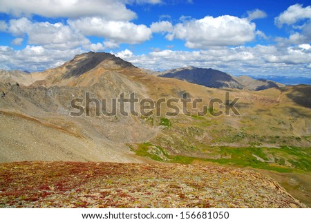 Mount Harvard in Fall Colors, Rocky Mountains Colorado - stock photo
