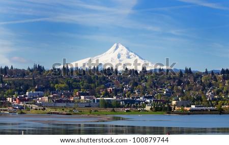 Mount hood and hood river city - stock photo