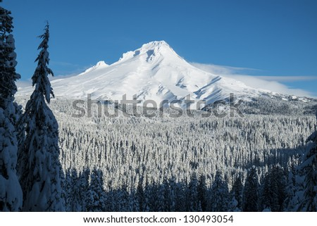 Mount Hood covered in winter snow, Oregon - stock photo