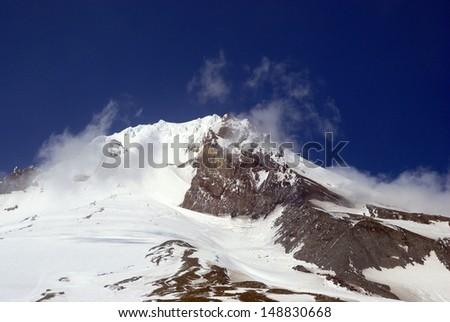 Mount Hood Summit from Timberline Lodge - Oregon - stock photo
