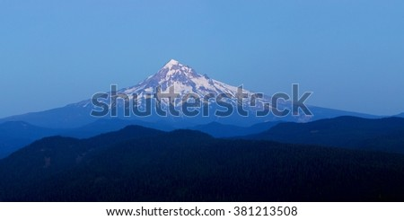 Mount Hood view from Larch Mount after sunset. USA Pacific Northwest, Oregon.
