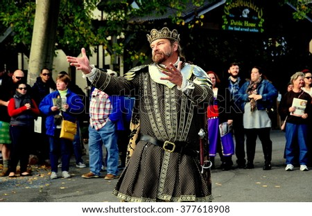 Mount Hope, Pennsylvania - October 17,  2015:  The King of the Faire emoting for visitors to the annual Pennsylvania Renaissance Faire