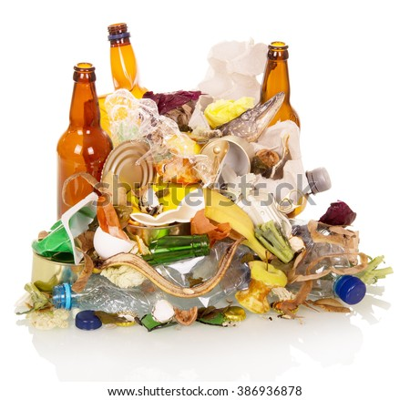 Mount household and food waste isolated on white background. - stock photo