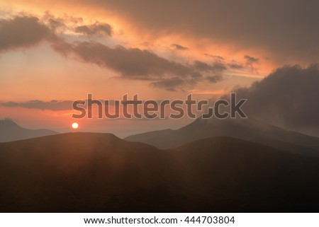 Mount Hoverla at sunset. The highest mountain in Ukraine