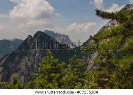 Mount Huang is one of the world's cultural heritages, and it is also the most famous tourist resort in China. - stock photo