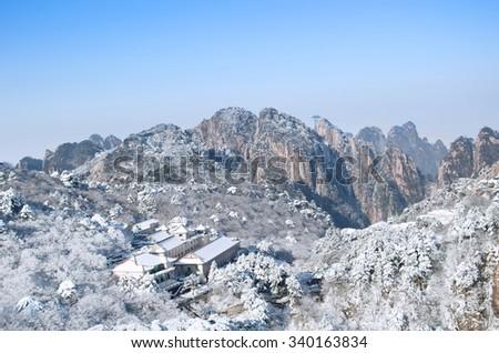 Mount Huangshan winter scenery - stock photo