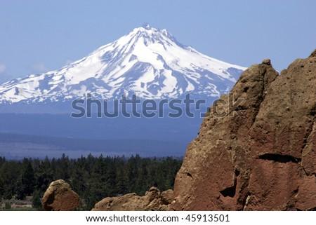 Mount Jefferson and Smith Rock, Oregon - stock photo