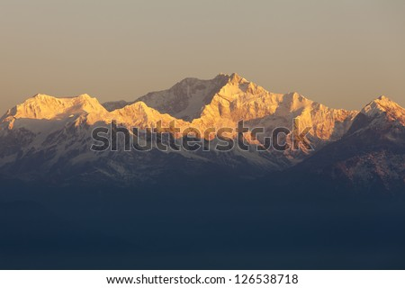 Mount Kanchenjunga -view from Tiger Hill, Darjeeling, India. - stock photo