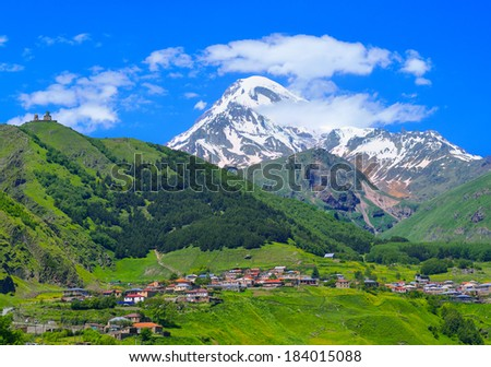 Mount Kazbek in the Caucasian mountains. Georgia - stock photo