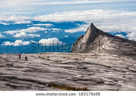 Mount Kinabalu is the highest mountain on the island of Borneo(4,095m). - stock photo