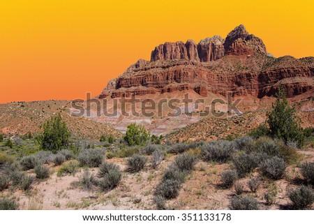 Mount Kinesava rising from Chinle plateau near Zion National Park, Utah - stock photo