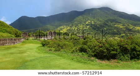 Mount Liamuiga from Brimstone Hill Fortress - St Kitts
