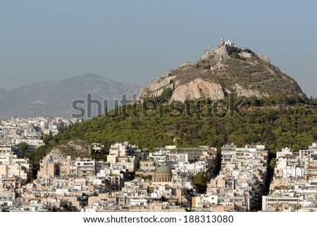 Mount Lycabettus, the highest point in Athens, Greece - stock photo