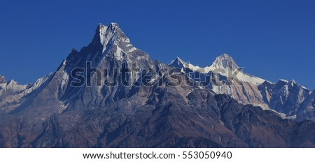 Mount Machapuchare and Lamjung Himal. Famous mountain near Pokhara, also known as fish tail mountain. Annapurna Conservation Area.