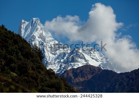 Mount Machapuchare Or Fish Tail Nepal at sunrise