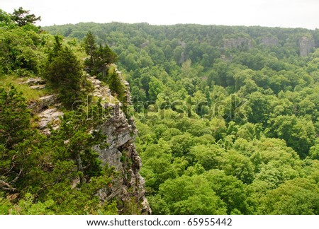 Mount Magazine and rock cliffs - stock photo