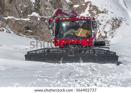 MOUNT MARMOLADA,ITALY-CIRCA SEPTEMBER 2015: Snow fighting vehicle in eternal snows area