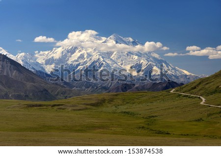 Mount Mckinley in the summer, Denali National Park, Alaska - stock photo