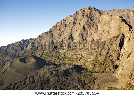 Mount Meru and its ash cone near Arusha in Tanzania. Africa. Mt Meru is located 60 kilometres west of Mount Kilimanjaro. - stock photo