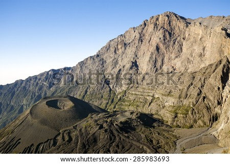 Mount Meru and its ash cone near Arusha in Tanzania. Africa. Mt Meru is located 60 kilometres west of Mount Kilimanjaro.