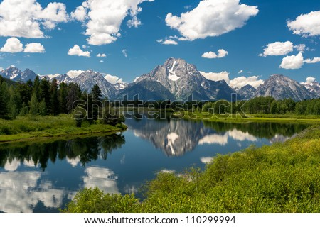 Mount Moran from the Oxbow Bend Turnout at Grand Teton National Park near Jackson, Wyoming - stock photo