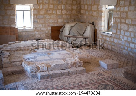MOUNT NEBO, JORDAN - Apr 28, 2014: Mosaic floor in Mount Nebo. which is mentioned in the Bible as the place where Moses was granted a view of the Promised Land that he would never enter.