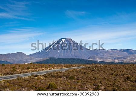 Mount Ngauruhoe in Tongariro National Park - New Zealand. - stock photo