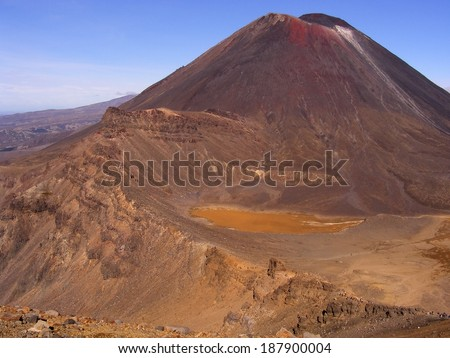 Mount Ngauruhoe Tongariro crossing New Zealand - stock photo