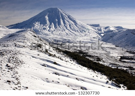 Mount Ngauruhoe, Tongariro National Park, Manawatu-Wanganui, New Zealand - stock photo