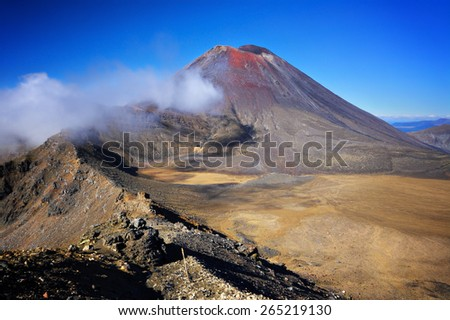 Mount Ngauruhoue (a.k.a. Mt. Doom), part of Tongariro Alpine Crossing hike, North Island, New Zealand - stock photo