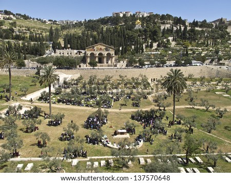 Mount of Olives, Church of All Nations and Church of Mary Magdalene, view from the walls of Jerusalem, Israel. - stock photo