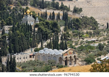Mount of Olives, Church of All Nations and Church of Mary Magdalene, view from the walls of Jerusalem. - stock photo