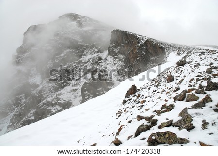 Mount of the Holy Cross with Clearing Snow Storm in the Rocky Mountains, Colorado - stock photo