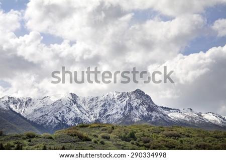 Mount Ogden Peak in Mountain Green Utah  - stock photo