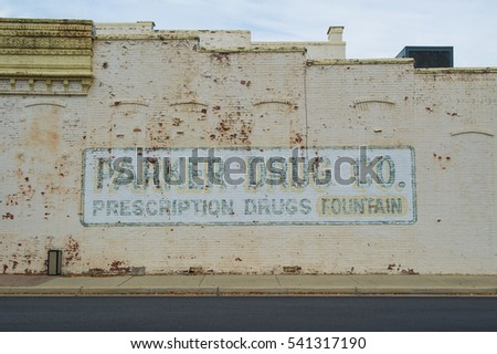 MOUNT OLIVE, NORTH CAROLINA , USA - OCTOBER 12, 2014: advertising mural for Parker Drug Co. a local Drugstore