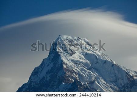 Mount peak Annapurna South At Sunrise In Himalayas - stock photo