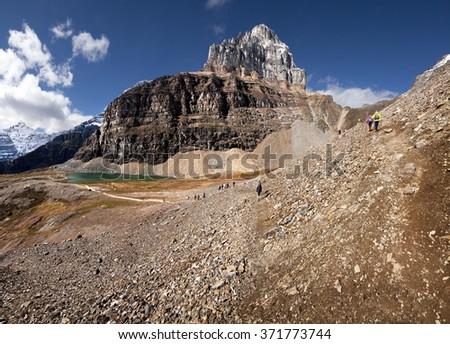 Mount Pinnacle, Sentinel Pass Hike, Lake Louise Banff National Park, Alberta, Canada Picture taken on September 26, 2015 - stock photo