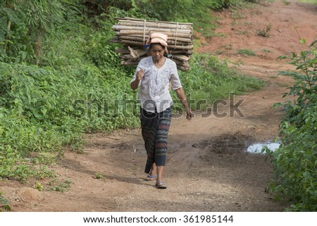 Mount Popa, Myanmar - Sep. 04, 2015: Burmese woman
