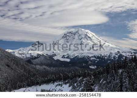 Mount Rainier in winter. Cascades, WA. - stock photo