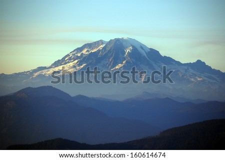 Mount Rainier, the tallest peak in Washington state - stock photo