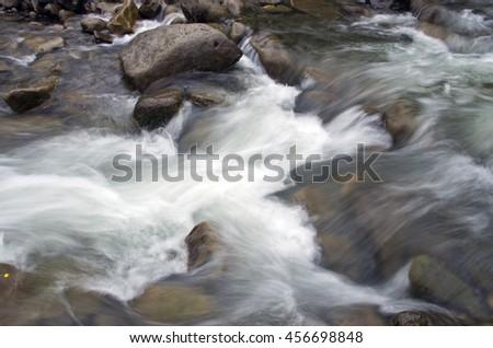 Mount river in summer. Karpathien mount. - stock photo