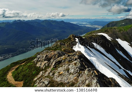 Mount Roberts Juneau Alaska and View of Gastineau Channel and Douglas Island - stock photo